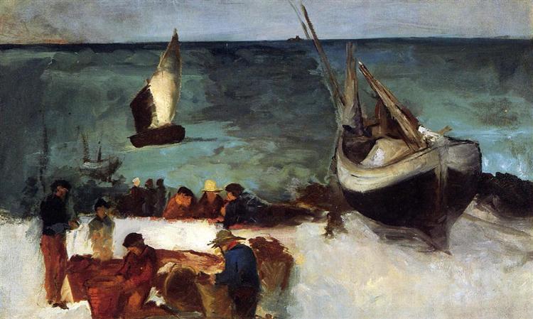 Seascape at Berck, Fishing Boats and Fishermen, 1873 - Edouard Manet