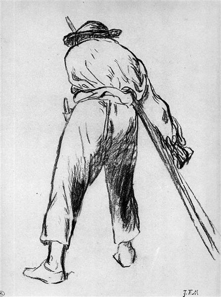 Sketch of moving farmer - Jean-Francois Millet