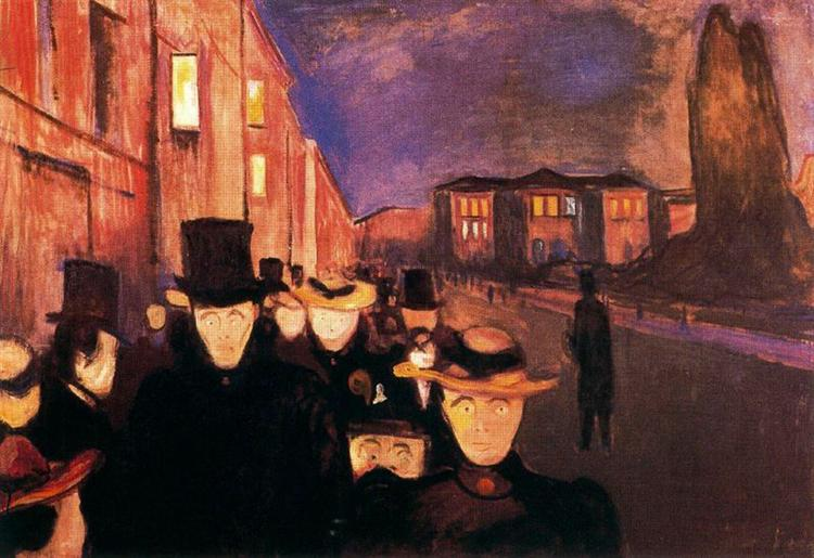 Evening on Karl Johan Street, 1892 - Edvard Munch