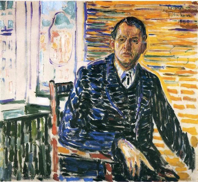 Self-Portrait at Professor Jacobson's Hospital, 1909 - Edvard Munch