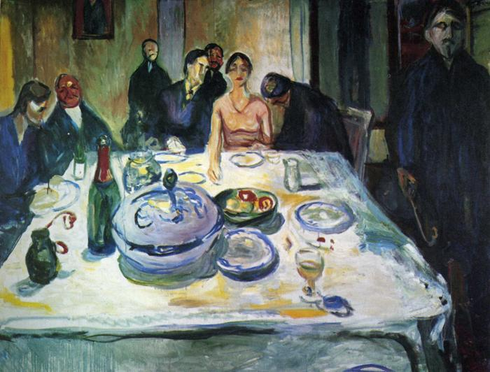 The Wedding of the Bohemian, Munch Seated on the Far Left, 1925 - Edvard Munch
