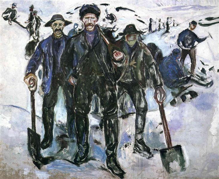 Workers in the Snow, 1913 - Edvard Munch