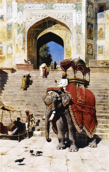 Royal Elephant at the Gateway to the Jami Masjid, Mathura, c.1895 - Edwin Lord Weeks