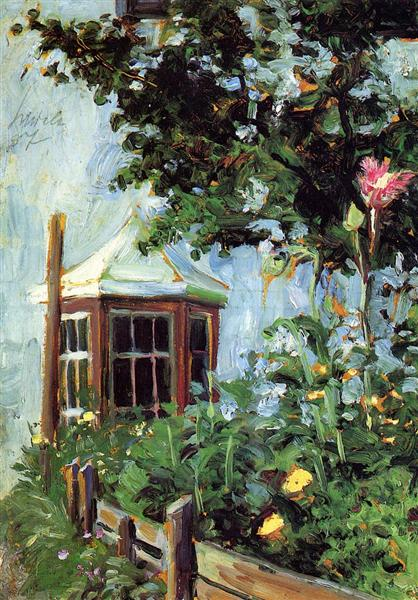 House with a Bay Window in the Garden, 1907 - Egon Schiele