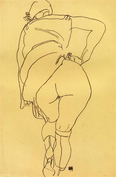 Semi Nude, Back View, 1918 - Эгон Шиле
