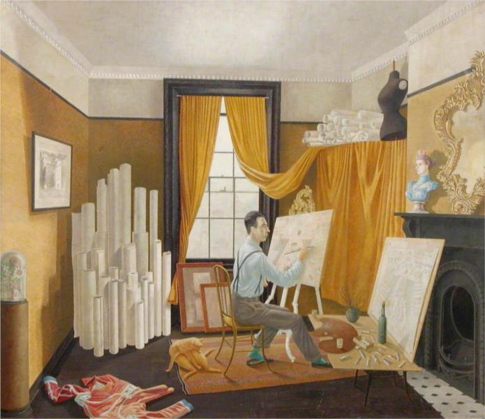 Edward Bawden Working in His Studio, 1930 - Ерік Равіліус