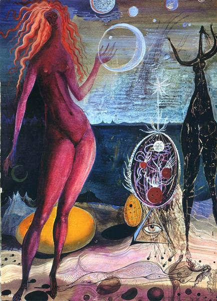 Eight world - lament over the cosmic egg, 1947 - Ernst Fuchs