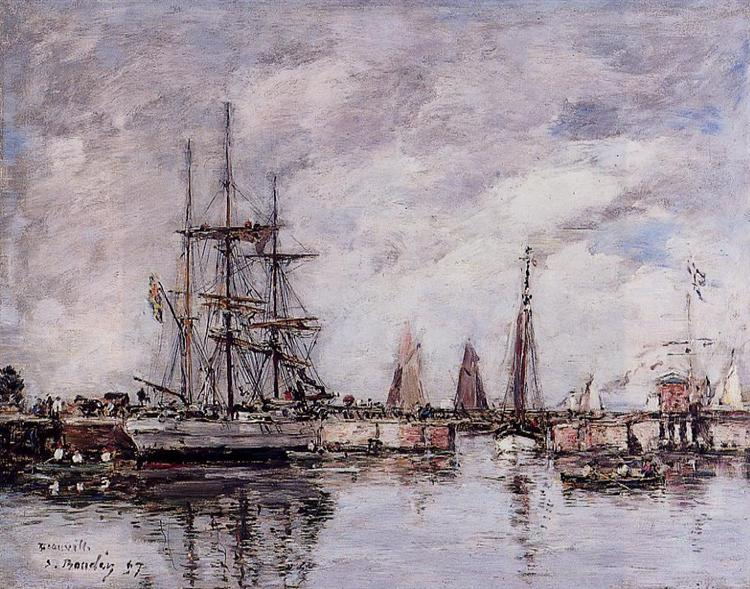 Deauville, Norwegian Three-Master Leaving Port, 1897 - Eugène Boudin