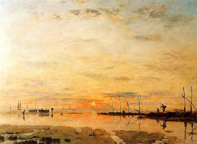 Le Havre. Sunset at Low Tide., 1884 - Eugene Boudin