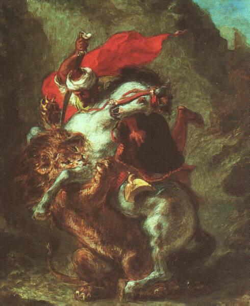 Arab Horseman Attacked by Lion, 1849 - 1850 - Eugene Delacroix