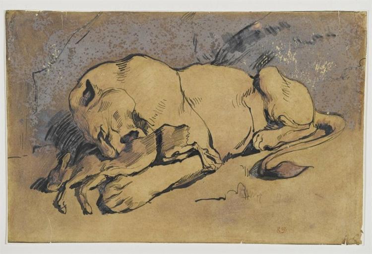 Lioness devouring a Rabbit - Eugene Delacroix