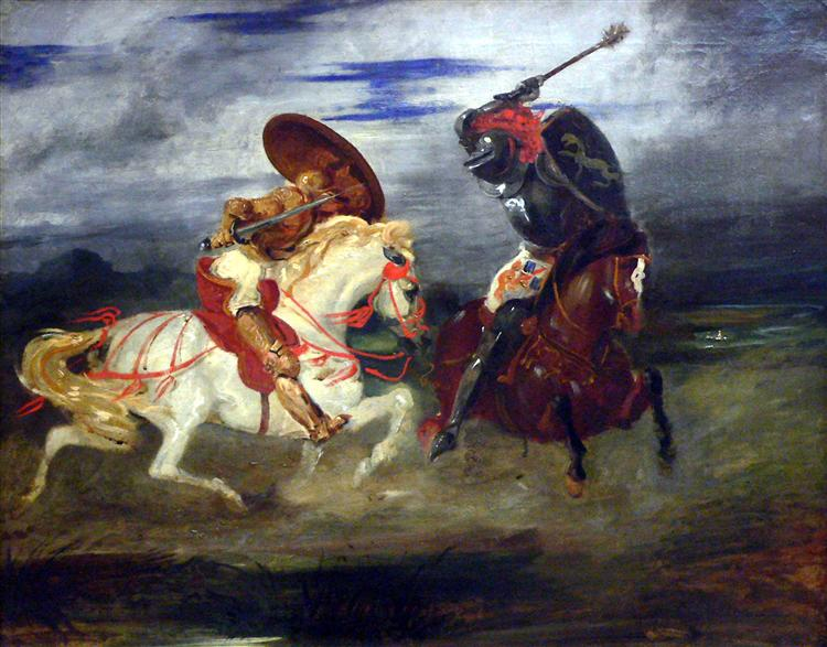 Two Knights Fighting in a Landscape, c.1824 - Eugene Delacroix