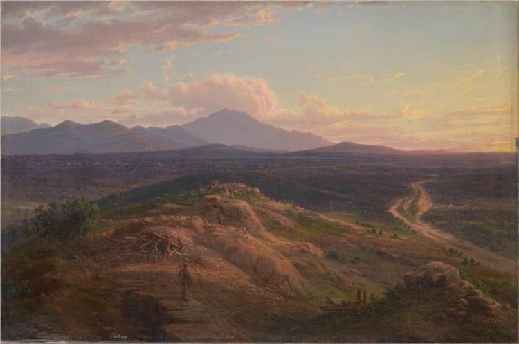Mount Langi from Pleasant Creek, 1871 - Eugene von Guerard