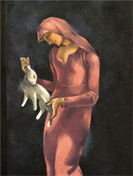 Woman with a Rabbit - Eugeniusz Zak