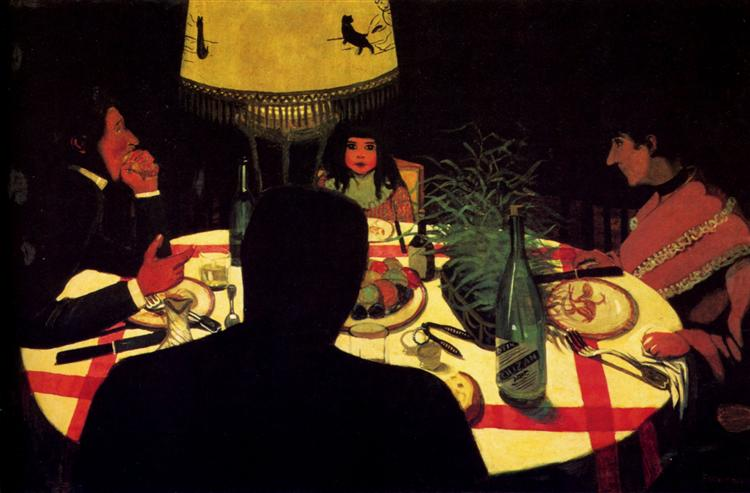 The Dinner, effect of lamp, 1899 - Felix Vallotton