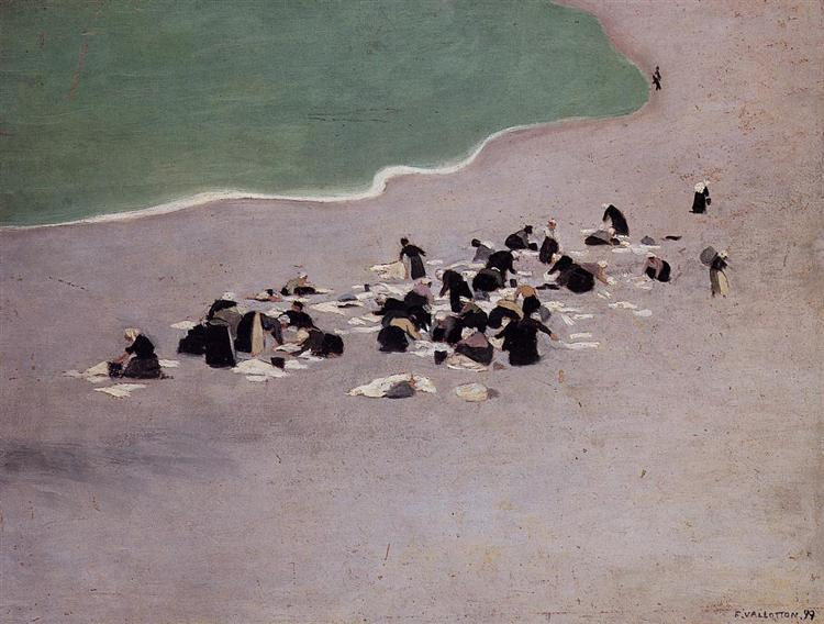 Washerwomen at Etretat (Women Drying Laundry on the Beach), 1899 - Felix Vallotton