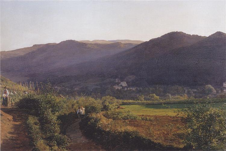 Mountain landscape with vineyard, 1862 - Фердинанд Георг Вальдмюллер