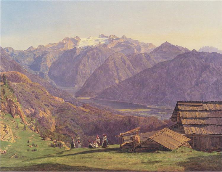 View of the Dachstein with the Hallstättersee from the Hütteneckalpe at Ischl, 1838 - Ferdinand Georg Waldmüller