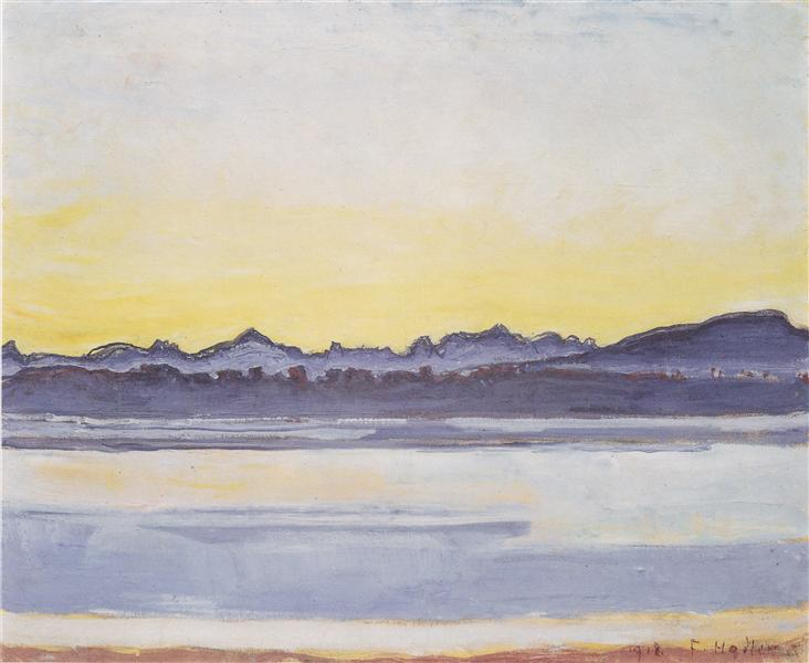 Lake Geneva with Mont Blanc before sunrise, 1918 - Ferdinand Hodler
