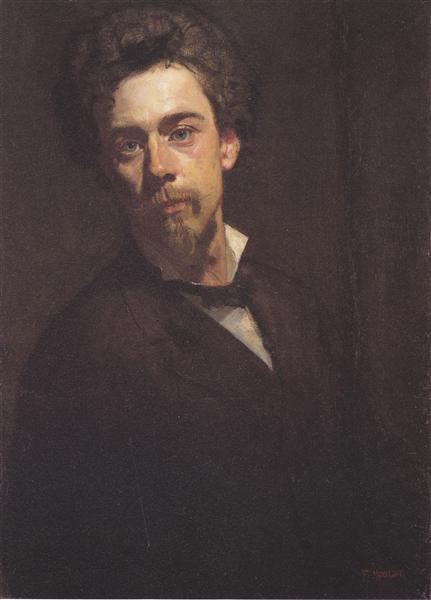 Self-portrait with stand, 1879 - Ferdinand Hodler