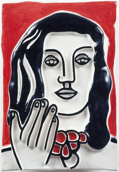 face by hand on a red background fernand leger wikiartorg