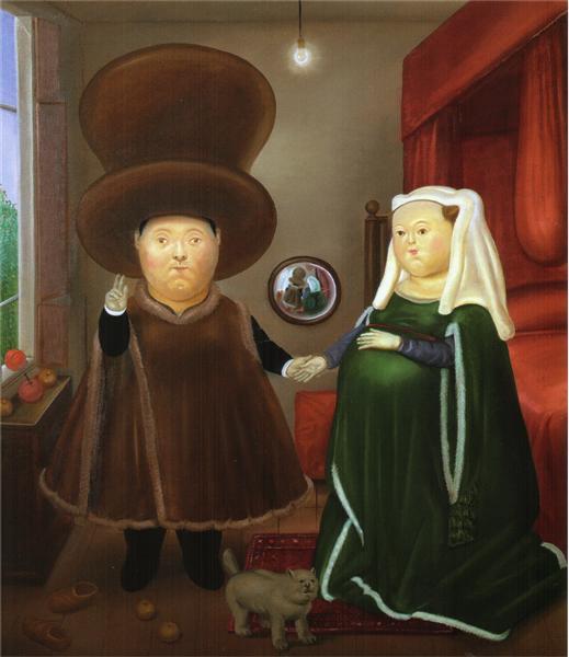 After the Arnolfini Van Eyck (2), 1978 - Fernando Botero