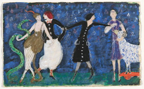"Euridice and her Snake, Two Tango Dancers and St. Francis. Costume design for the artist's ballet ""Orphée of the Quat'z Arts"", 1912 - Florine Stettheimer"