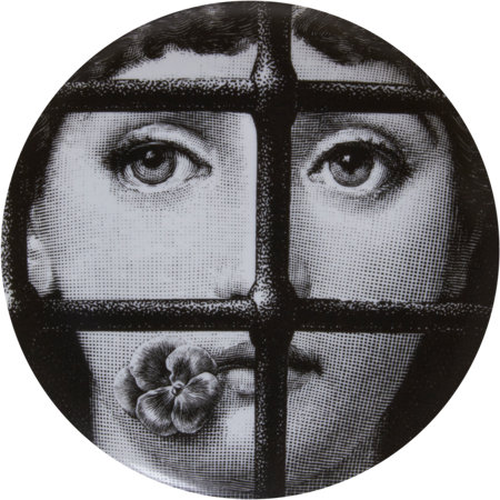 Theme & Variations Decorative Plate #361 (Face with Pansy in Mouth in Window) - Piero Fornasetti