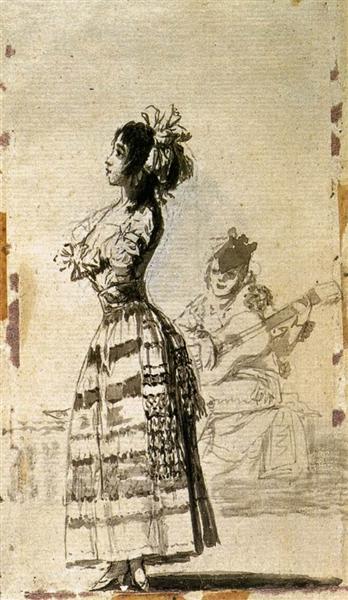 Chica escuchar una guitarra, 1797 - 1799 - Francisco de Goya