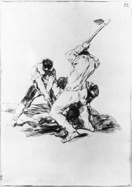 Three Men Digging, 1819 - Francisco Goya