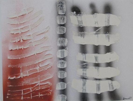 Composition abstraite sur fond blanc, 1993 - Francois Arnal