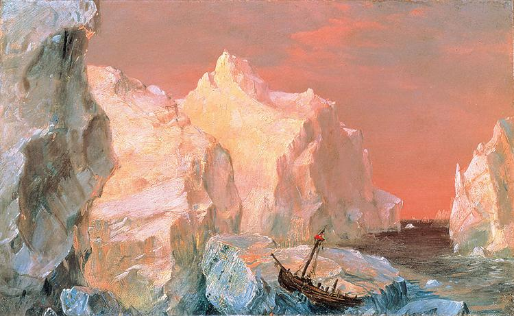Icebergs and Wreck in Sunset - Frederic Edwin Church