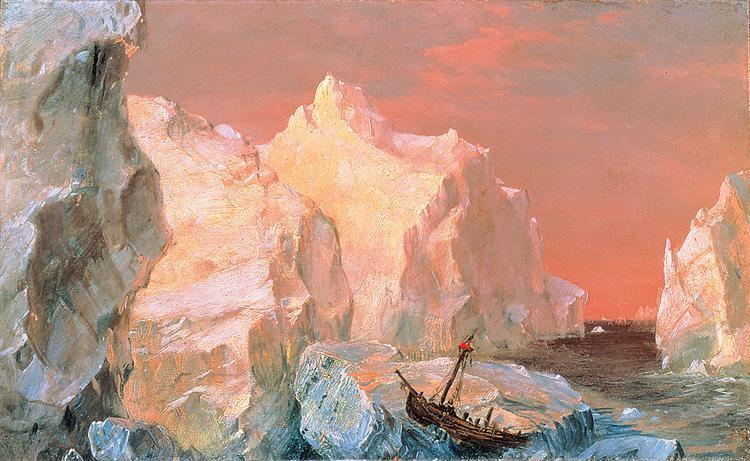 Icebergs and Wreck in Sunset, 1860 - Фредерік Эдвін Чьорч
