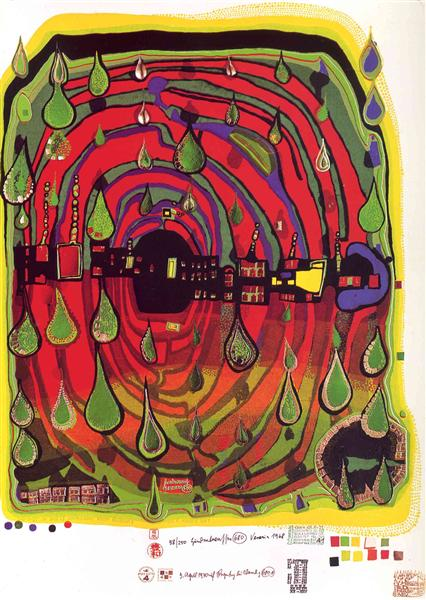 680A  Sad Not so Sad Is Rainshine - From Rainday on a Rainy Day, 1970 - Friedensreich Hundertwasser