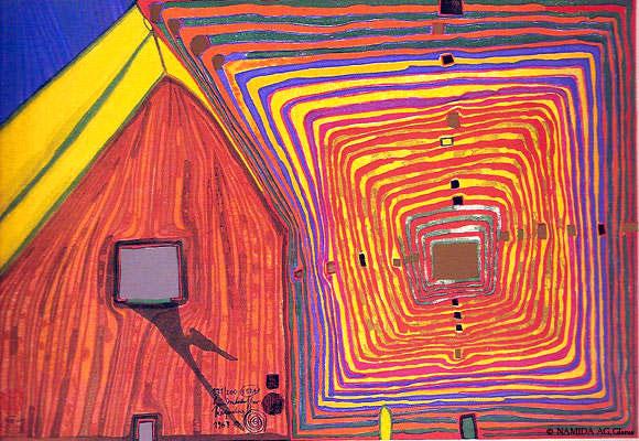 551A  Spiralsun and Moonhouse – The Neighbours, 1967 - Friedensreich Hundertwasser