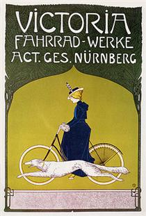 Advertising poster Victoria Fahrradwerke (bicycles) - Fritz Rehm