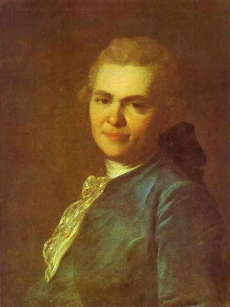 Portrait of Unknown Man in a Blue Caftan, c.1770 - Fyodor Rokotov