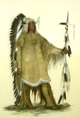Mah-to-toh-pe (Four Bears, Mandan chief), 1833 - George Catlin