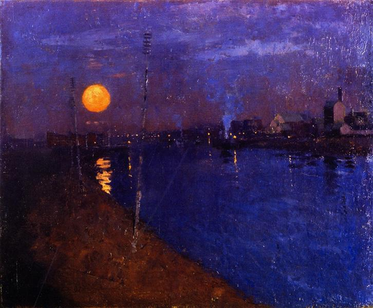 River Landscape by Moonlight, 1887 - Джордж Генри