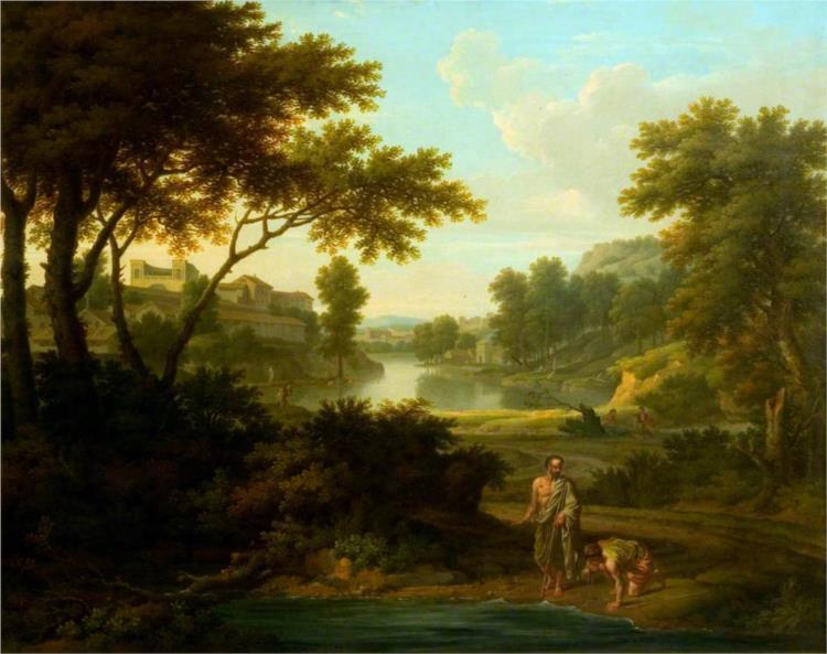 Diogenes Throwing away His Bowl (afrer Nicolas Poussin), 1745 - George Lambert