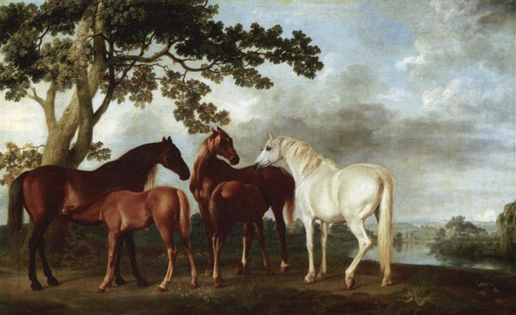 Mares and Foals in a River Landscape - George Stubbs