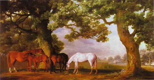 Mares and Foals in a Wooded Landscape - George Stubbs