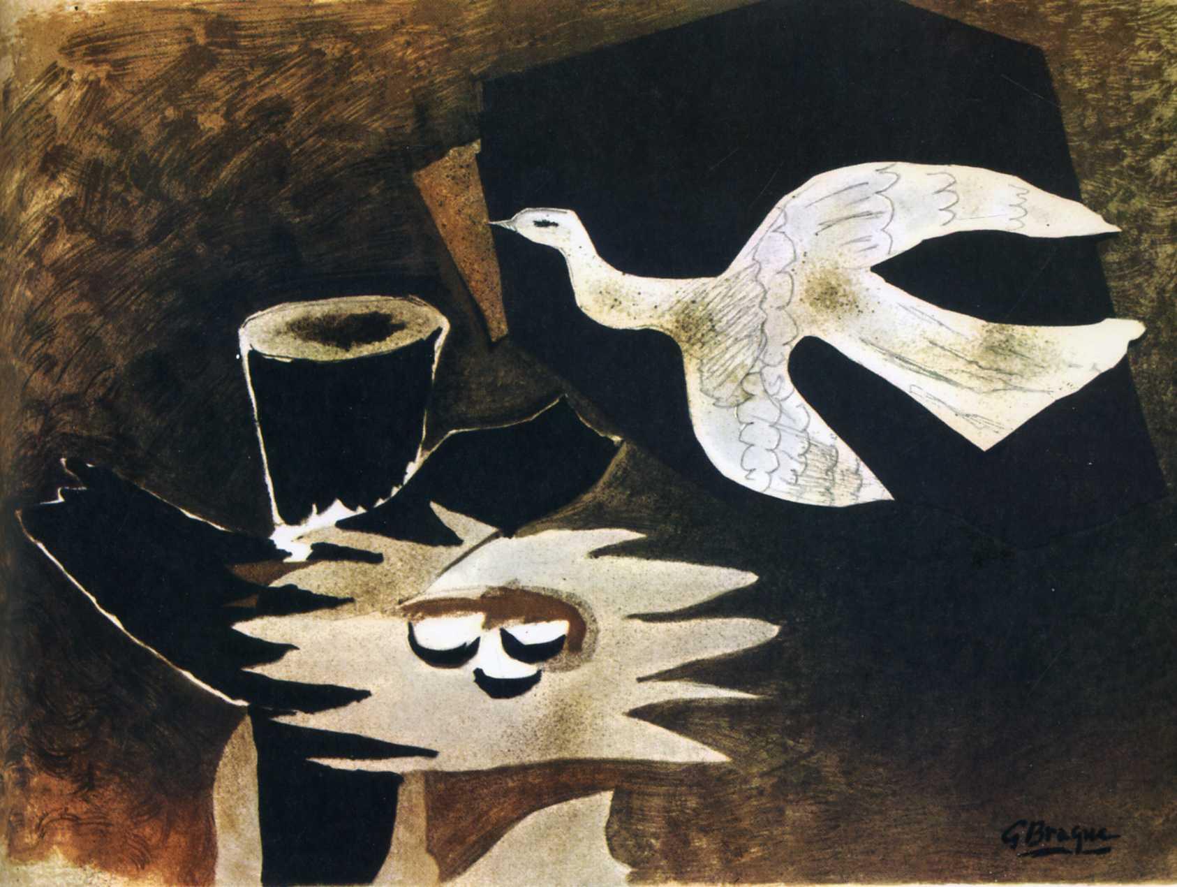 Zorz Brak ( Georges Braque ) - Page 3 Bird-returning-to-it-s-nest-1956