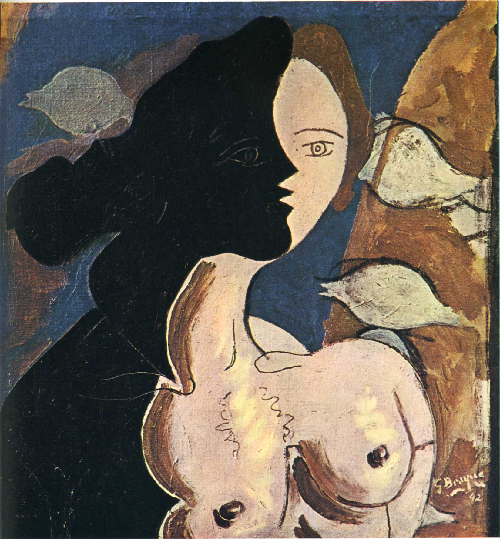 Zorz Brak ( Georges Braque ) - Page 4 Figure-double-with-marine-background-1942
