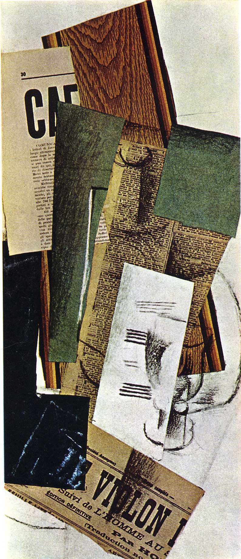 Top Glass Carafe and Newspapers, 1914 - Georges Braque - WikiArt.org OP79