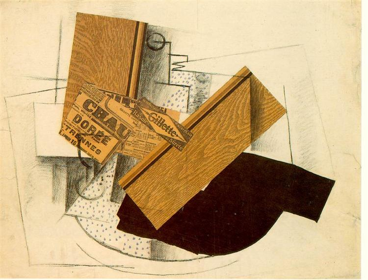 Still Life on a Table with 'Gillette', 1914 - Georges Braque