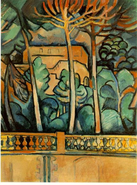 """Terrace of Hotel """"Mistral"""" at Estaque, 1907 - Georges Braque"""