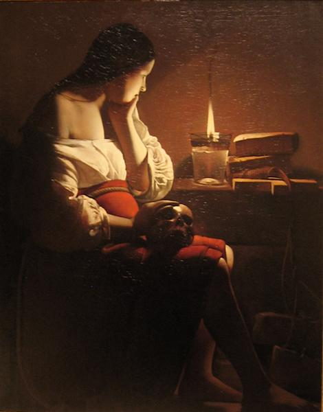 Repenting Magdalene, also called Magdalene in a Flickering Light - Georges de la Tour