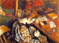 Young Woman Sewing - Жорж Леммен