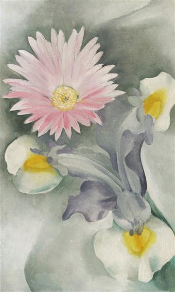 Pink Daisy with Iris - O'Keeffe Georgia